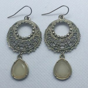 Boho Silver Tone Drop Hoop Filigree Earrings